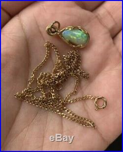 Stunning 18ct Gold Solid Black Opal Pendant With 9ct Gold Chain