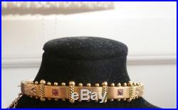 Stunning 9 Ct Gold Victorian Antique Ruby And Seed Pearl Bangle And Safety Chain