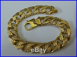 Stunning 9ct Gold 9 Patterned Curb Bracelet