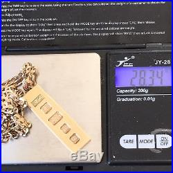 Stunning 9ct SOLID GOLD INGOT Vintage Pendant and CURB CHAIN 20 1/4ins 28.4g