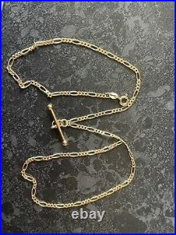 Stunning 9ct Solid Gold Italian Figaro T Bar Necklace Chain Hallmarked 18 Inch