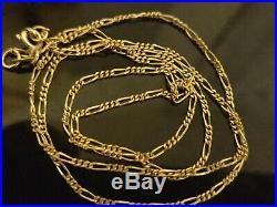 Stunning 9ct yellow gold solid Figaro linked chain. Full 9ct gold hallmark