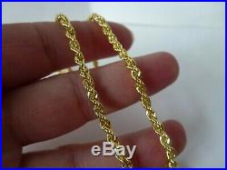 Stunning 9ct yellow gold solid rope chain. Full 9ct gold hallmarks
