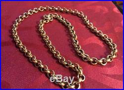 Stunning Antique 9ct Gold Over 3 Ounce Belcher Curb Rollerball Necklace Chain