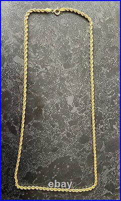 Stunning Birmingham hm Solid 9ct Gold Rope Twist Necklace Chain 20 Inches