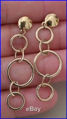 Stunning Fully UK Hallmarked 9ct Gold Modernist Round Chain Link Drop Earrings