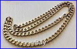 Stunning Gents Full Hallmarked Very Heavy Solid 9ct Gold Curb Neck Chain 22 inch