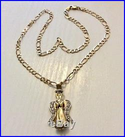 Stunning Ladies Solid 9CT Gold Moveable Angel Pendant on Solid 9CT Chain