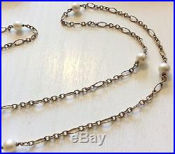 Stunning Ladies Unusual Antique 9ct Gold Cultured Pearl Necklace Long Chain 28