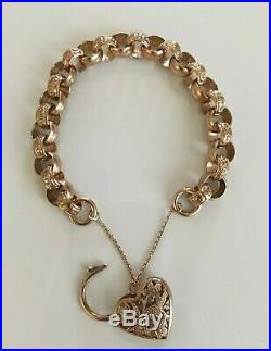 Stunning Ladies Vintage 9ct Gold Scroll Chain Bracelet + Ornate Love Heart Clasp