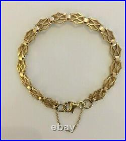 Stunning Ladies Vintage Solid 9ct Yellow Gold Fancy Link Bracelet Chain 7 3/4