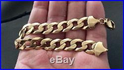 Stunning Mens High Quality Vintage Solid Heavy 9CT Gold Chunky Bracelet Nice