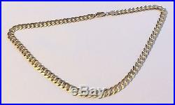 Stunning Quality Gents Hallmarked Heavy Vintage 9Ct Gold Flat Curb Chain 32.3G