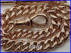 Stunning Victorian 9ct Rose Gold Albert Link Graduated Fob Chain Bracelet Heavy