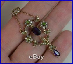 Suffragette Amethyst Seed Pearl & Peridot 9ct Gold Pendant Necklace Chain d1958