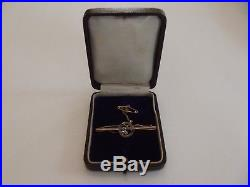 Suffragette Art Nouveau 9ct Gold Brooch C1900's, Safety Chain & Fitted Box