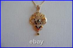 Suffragette Art Nouveau 9ct Gold Pendant, 9ct Gold Chain C1890's, Box
