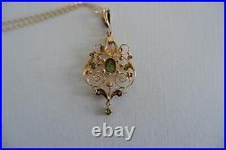 Suffragette Art Nouveau 9ct Gold Pendant & Gold Chain C1890's, Period Box