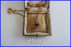 Suffragette Art Nouveau 9ct Gold'sweet Heart' Pendant & Chain, C1890's, Box