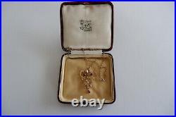 Suffragette Art Nouveau 9ct Yellow Gold Pendant 9ct Gold Chain C1890's Box