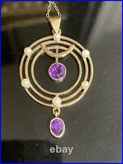 Suffragette Edwardian 9ct Gold Levalier Type Amethyst & Prarl Pendant Necklace