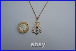Suffragette Edwardian 9ct Gold Pendant & Gold Tone Chain -1905's, Period Box