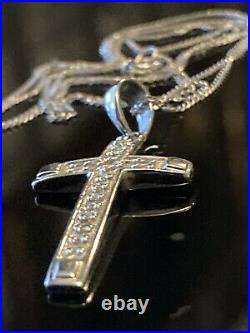 Super Sparkly Solid 9ct White Gold Real Diamond Cross Pendant 18 Chain Necklace