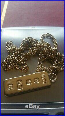 Superb 24Inch 9ct Gold Chain And Gold Bar Ready to wear- Not Scrap 28.8 Grams