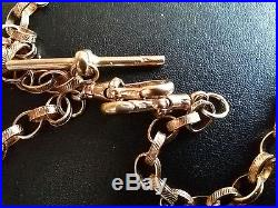 Superb 9ct Gold Double Albert Watch Chain/Necklace, Engraved Belcher Links (20)