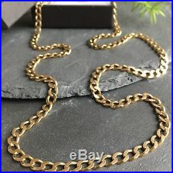 Superb 9ct Solid Yellow Gold Vintage CURB LINK Chain Necklace 24.58 g 24 Long