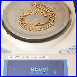 Superb 9ct Solid Yellow Gold Vintage CURB LINK Chain Necklace 35.02 g 20 1/8