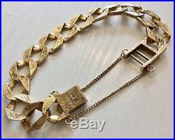 Superb Gents Big Chunky Heavy Solid 9CT Gold Bracelet Vintage & Heavy