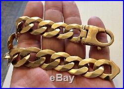 Superb Gents Extremely Heavy Chunky 9CT Gold Curb Bracelet 9 inches app