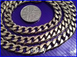 Superb Gents Full Hallmarked Very Heavy Solid 9ct Gold Necklace Chain 21+ Inch
