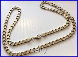 Superb Gents Solid Heavy Full Hallmarked Nice Heavy 9ct Gold Curb Neck Chain 23