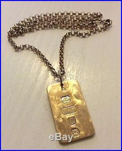 Superb Gents Vintage Solid Heavy 9ct Gold Ingot On Nice 9ct Gold Belcher Chain