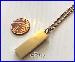 Superb Heavy Solid Gold Vintage 9ct Ingot Pendant on Long 9ct Gold Chain 30 inch
