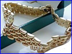 Superb, Heavy, Solid Vintage 9ct yellow gold bracelet mint 1980s wt 30 gms NEW