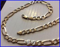Superb Men's Full Hallmarked Very Heavy Solid 9ct Gold Big Figaro Neck Chain