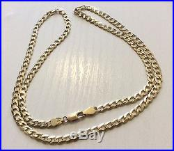Superb Quality Hallmarked Heavy Solid 9ct Gold Open Flat Curb Neck Chain 24 Inch