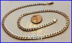 Superb Quality Heavy Vintage Solid 9ct Gold Curb Link Neck Chain 18 Inch