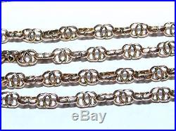 Superb Rare Link Antique 1890 Solid 9ct Gold Long Guard / Muff Flapper Chain 57