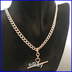 Superb Victorian 9ct Gold T Bar Necklace Single Albert Chain 16 42.3g #126