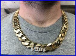 Thick Curb Chain Necklace Solid 9ct Gold Gents Heavy 375 305.4g Df42