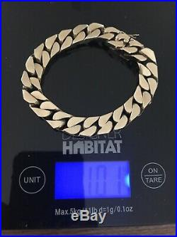 Top Quality Vintage Heavy Solid 9ct Gold Mens Tight Curb Link Bracelet 100g