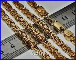 UK HALLMARKED 9 CT YELLOW GOLD & SILVER 5mm SQUARE BYZANTINE LINK CHAIN 24 inch