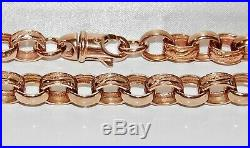 UK HALLMARKED 9CT ROSE GOLD ON SILVER PATTERNED BELCHER LINK CHAIN 20 inch