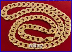 UK Hallmarked 9 ct Gold Large Curb Chain 26.5 76.7 G RRP £2765 BXQ2