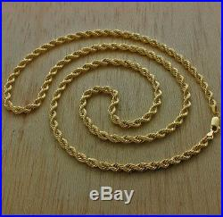 UK Hallmarked 9ct Gold Italian Rope Chain 26 4.5mm 11g RRP £430 (I11 26)