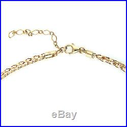 UK Hallmarked 9ct Gold Woven Braided Omega Chain Necklace Extendable 17 19